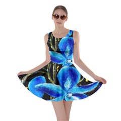 Bright Blue Abstract Flowers Skater Dresses