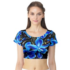 Bright Blue Abstract Flowers Short Sleeve Crop Top