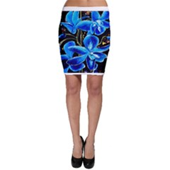 Bright Blue Abstract Flowers Bodycon Skirts