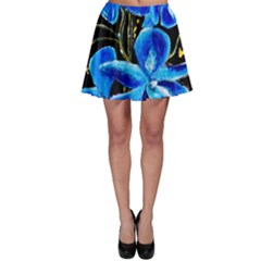 Bright Blue Abstract Flowers Skater Skirts