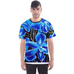 Bright Blue Abstract Flowers Men s Sport Mesh Tees