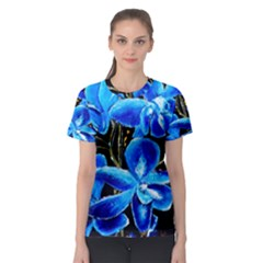 Bright Blue Abstract Flowers Women s Sport Mesh Tees