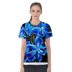 Bright Blue Abstract Flowers Women s Cotton Tees