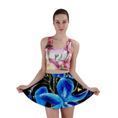 Bright Blue Abstract Flowers Mini Skirts