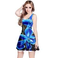Bright Blue Abstract Flowers Reversible Sleeveless Dresses