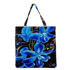 Bright Blue Abstract Flowers Grocery Tote Bags