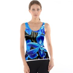 Bright Blue Abstract Flowers Tank Tops
