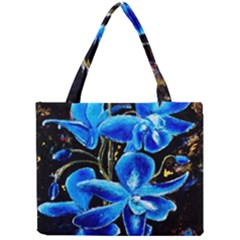 Bright Blue Abstract Flowers Tiny Tote Bags