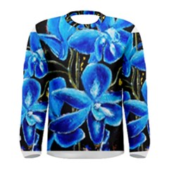 Bright Blue Abstract Flowers Men s Long Sleeve T-shirts