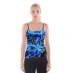 Bright Blue Abstract Flowers Spaghetti Strap Tops
