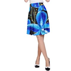 Bright Blue Abstract Flowers A Line Skirts