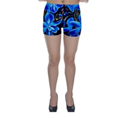 Bright Blue Abstract Flowers Skinny Shorts
