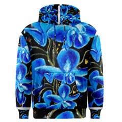 Bright Blue Abstract Flowers Men s Pullover Hoodies