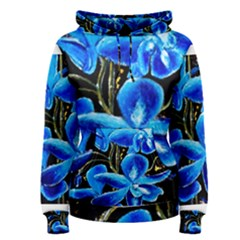 Bright Blue Abstract Flowers Women s Pullover Hoodies