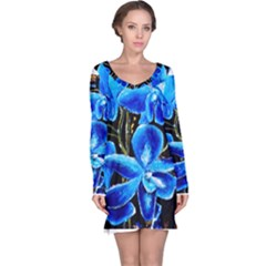Bright Blue Abstract Flowers Long Sleeve Nightdresses