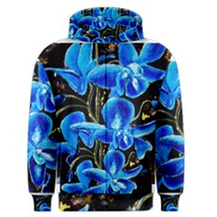 Bright Blue Abstract Flowers Men s Zipper Hoodies