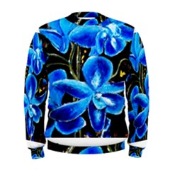 Bright Blue Abstract Flowers Men s Sweatshirts