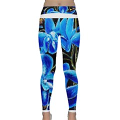 Bright Blue Abstract Flowers Yoga Leggings