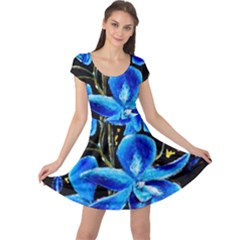 Bright Blue Abstract Flowers Cap Sleeve Dresses