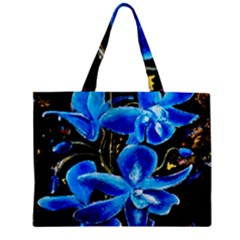 Bright Blue Abstract Flowers Zipper Tiny Tote Bags