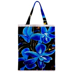 Bright Blue Abstract Flowers Zipper Classic Tote Bags
