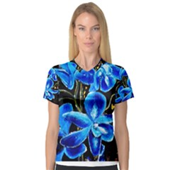 Bright Blue Abstract Flowers Women s V-Neck Sport Mesh Tee