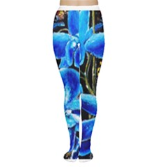 Bright Blue Abstract Flowers Women s Tights