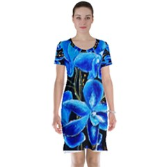 Bright Blue Abstract Flowers Short Sleeve Nightdresses