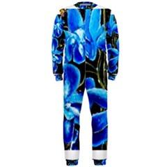 Bright Blue Abstract Flowers OnePiece Jumpsuit (Men)