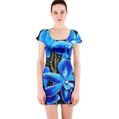 Bright Blue Abstract Flowers Short Sleeve Bodycon Dresses