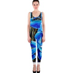 Bright Blue Abstract Flowers OnePiece Catsuits