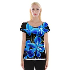 Bright Blue Abstract Flowers Women s Cap Sleeve Top