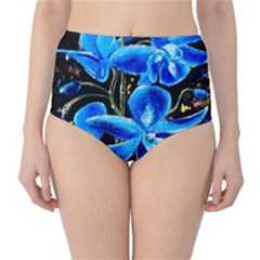 Bright Blue Abstract Flowers High Waist Bikini Bottoms