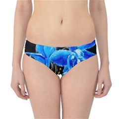 Bright Blue Abstract Flowers Hipster Bikini Bottoms