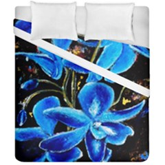 Bright Blue Abstract Flowers Duvet Cover (double Size)