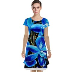 Bright Blue Abstract Flowers Cap Sleeve Nightdresses