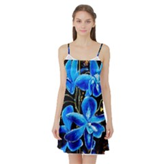 Bright Blue Abstract Flowers Satin Night Slip
