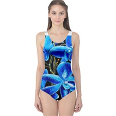 Bright Blue Abstract Flowers Women s One Piece Swimsuits