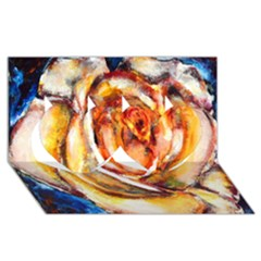 Abstract Rose Twin Hearts 3D Greeting Card (8x4)