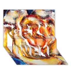 Abstract Rose Get Well 3D Greeting Card (7x5)