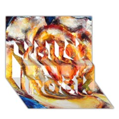 Abstract Rose You Rock 3D Greeting Card (7x5)
