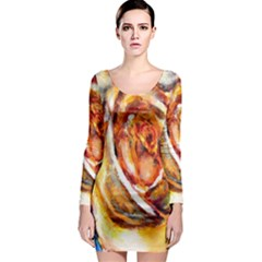 Abstract Rose Long Sleeve Bodycon Dresses