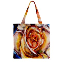 Abstract Rose Zipper Grocery Tote Bags