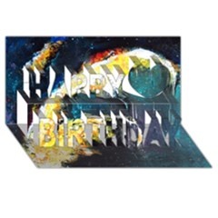 Abstract Space Nebula Happy Birthday 3d Greeting Card (8x4)