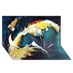 Abstract Space Nebula Twin Hearts 3d Greeting Card (8x4)