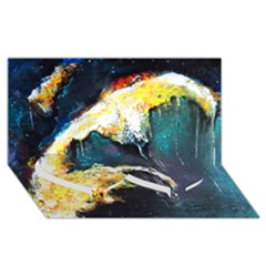 Abstract Space Nebula Twin Heart Bottom 3D Greeting Card (8x4)