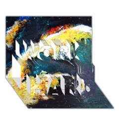Abstract Space Nebula WORK HARD 3D Greeting Card (7x5)