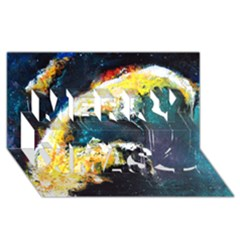 Abstract Space Nebula Merry Xmas 3d Greeting Card (8x4)