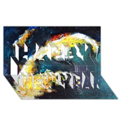 Abstract Space Nebula Happy New Year 3D Greeting Card (8x4)