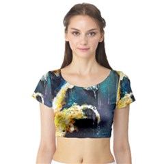 Abstract Space Nebula Short Sleeve Crop Top